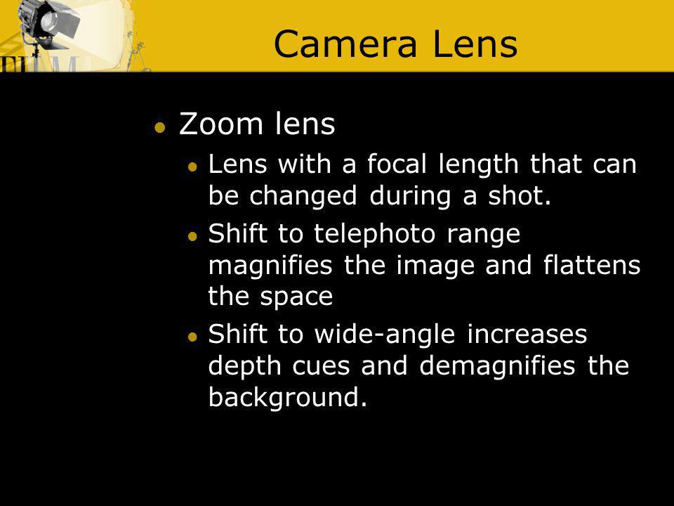 Camera Lens Zoom lens. Lens with a focal length that can be changed during a shot.