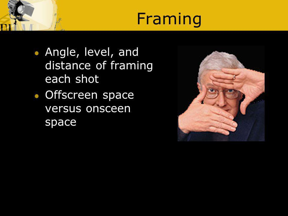 Framing Angle, level, and distance of framing each shot