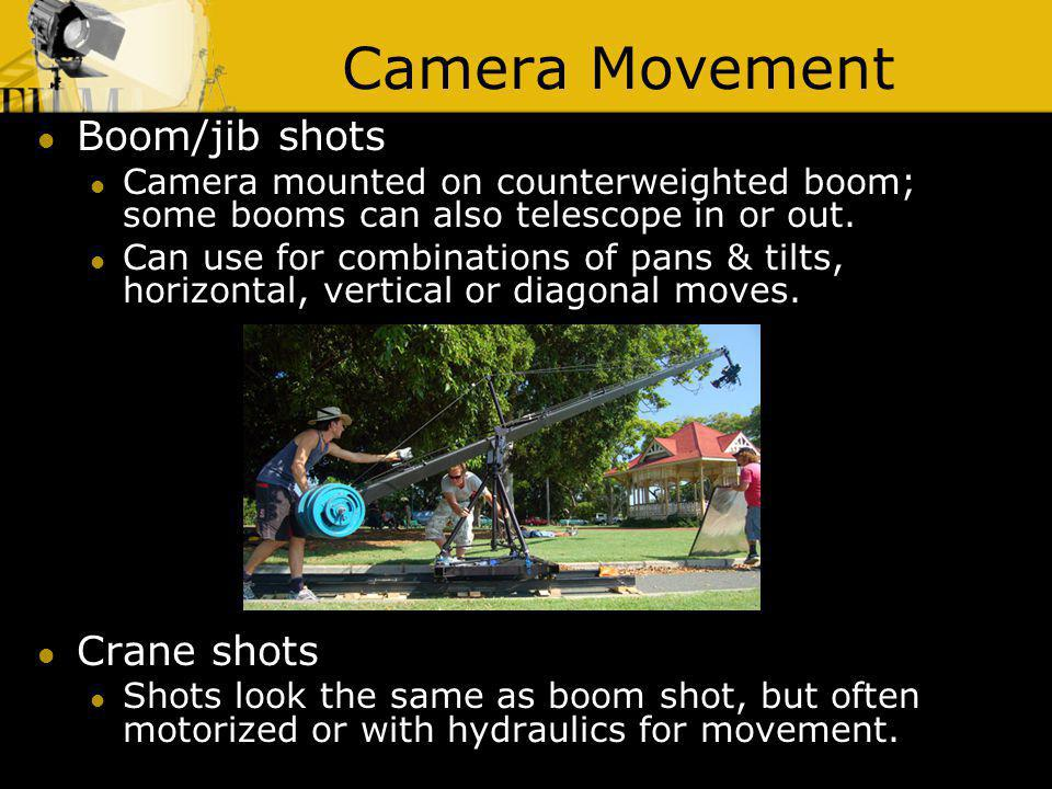 Camera Movement Boom/jib shots Crane shots