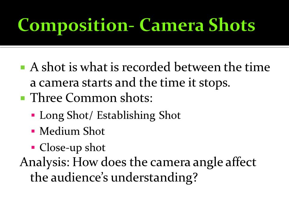 Composition- Camera Shots