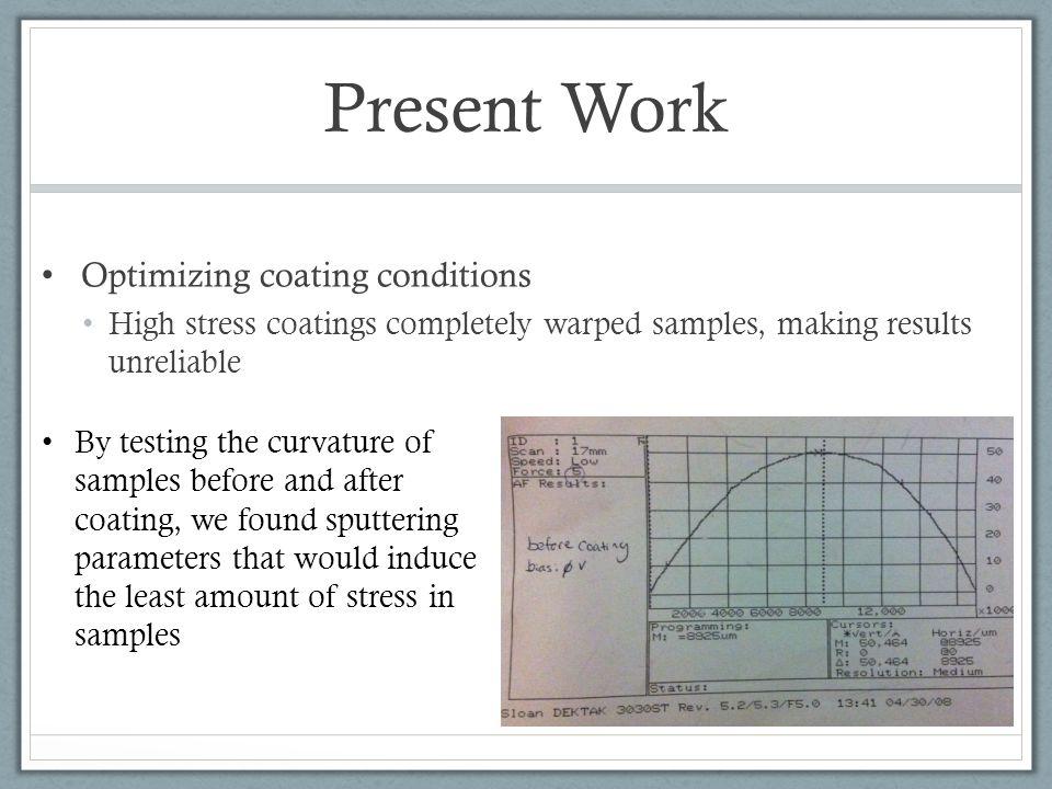 Present Work Optimizing coating conditions