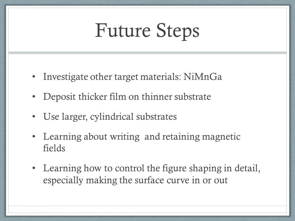 Future Steps Investigate other target materials: NiMnGa