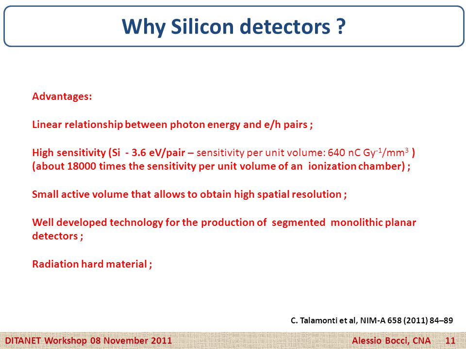 Why Silicon detectors Advantages: