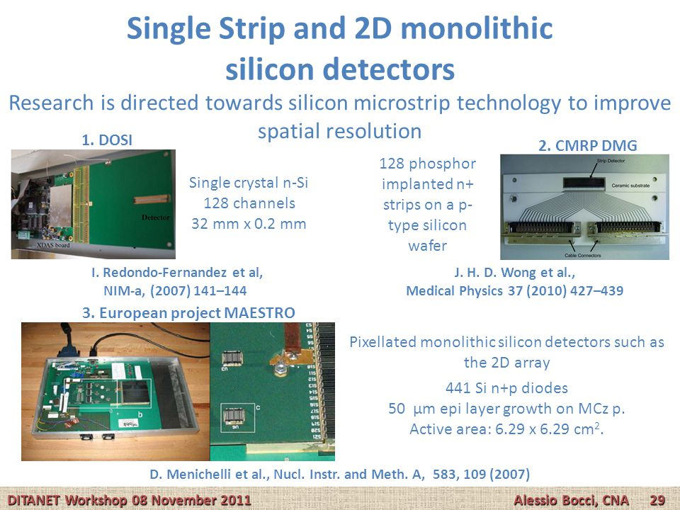 Single Strip and 2D monolithic silicon detectors