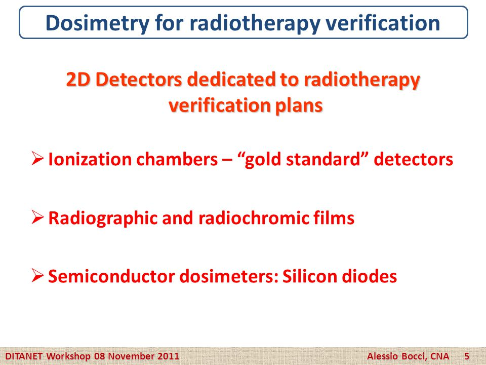 Dosimetry for radiotherapy verification
