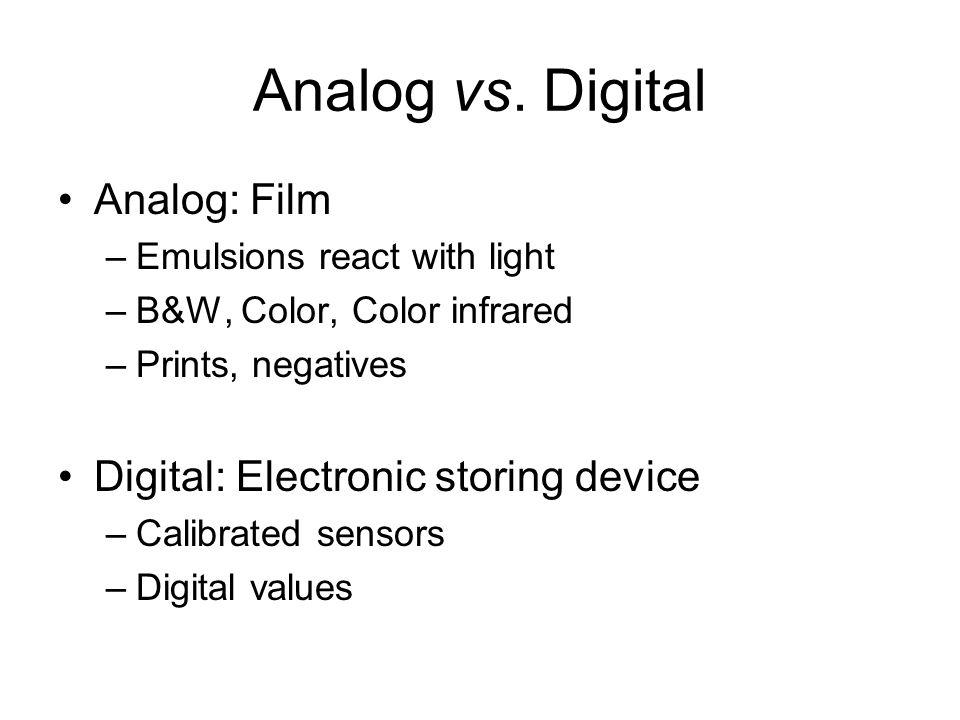 Analog vs. Digital Analog: Film Digital: Electronic storing device