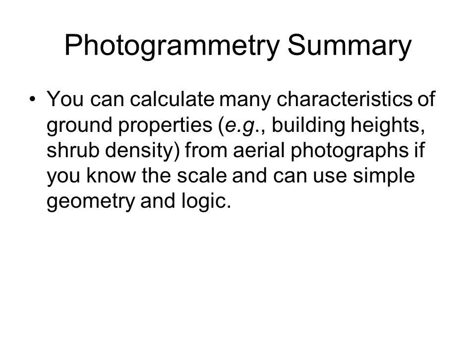 Photogrammetry Summary