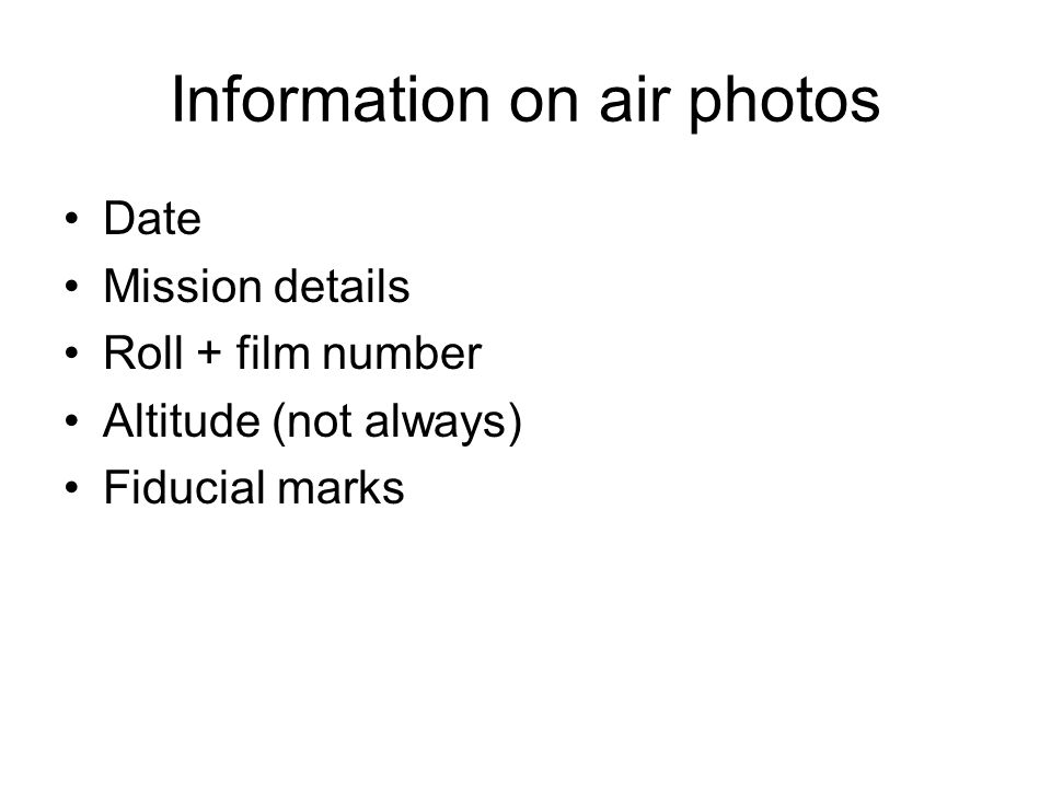 Information on air photos