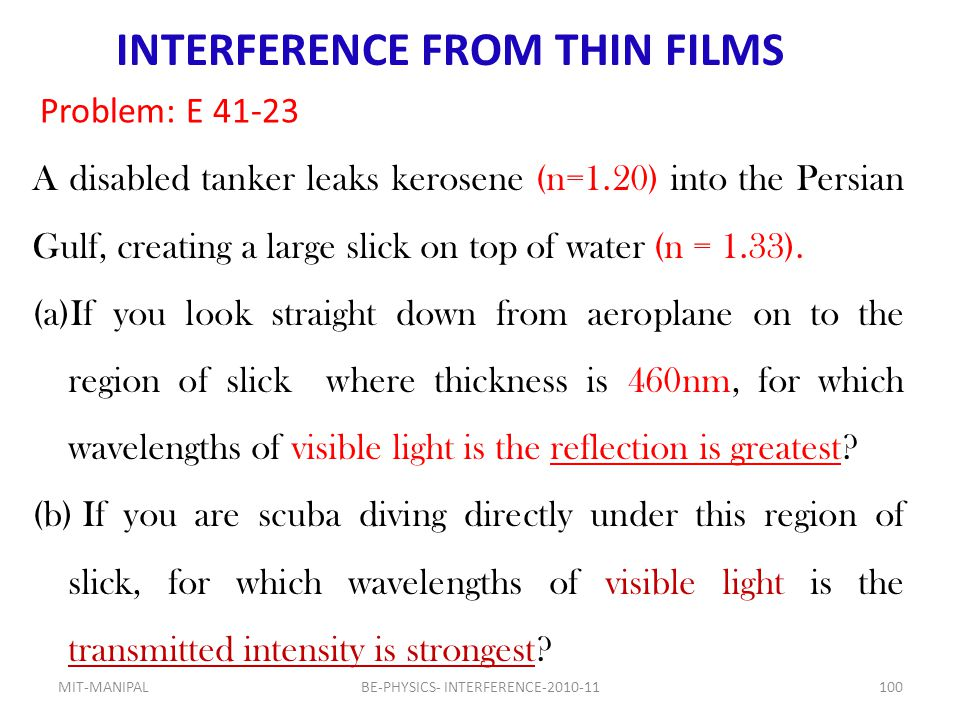 INTERFERENCE FROM THIN FILMS
