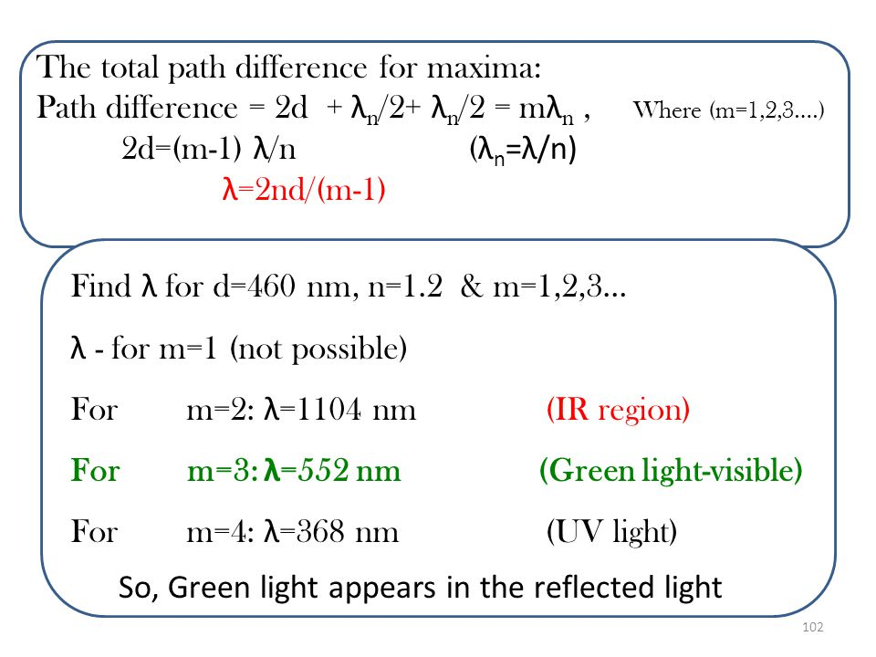 The total path difference for maxima:
