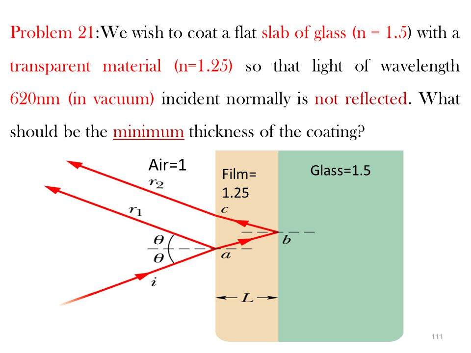 Problem 21:We wish to coat a flat slab of glass (n = 1