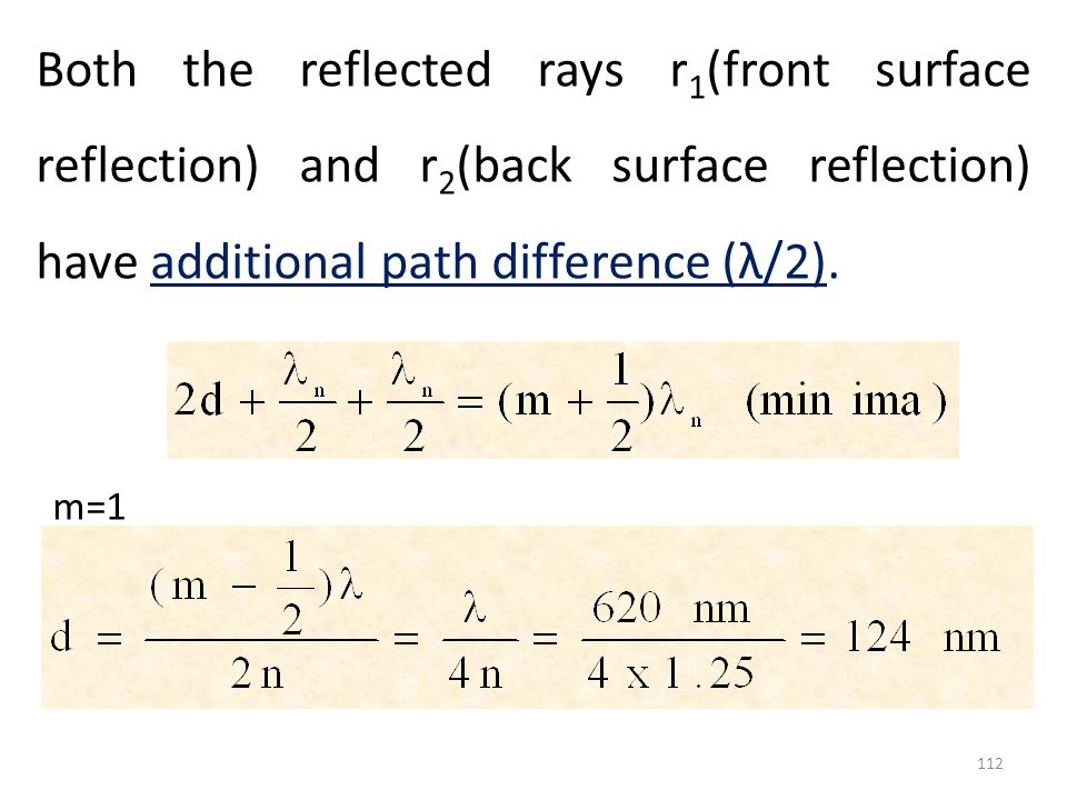 Both the reflected rays r1(front surface reflection) and r2(back surface reflection) have additional path difference (λ/2).