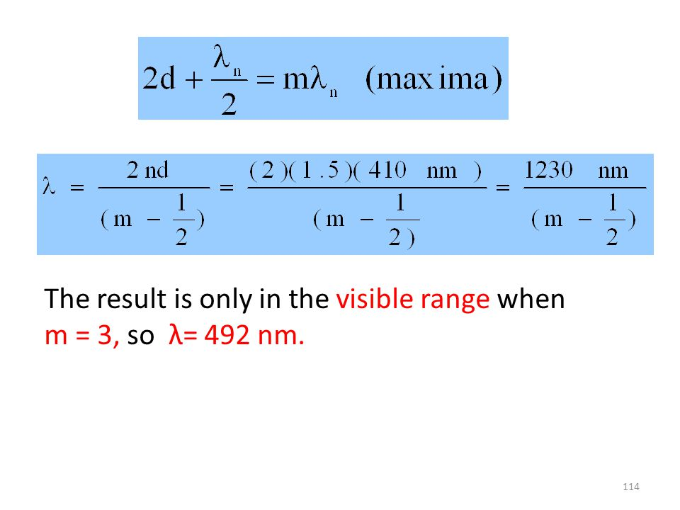 The result is only in the visible range when