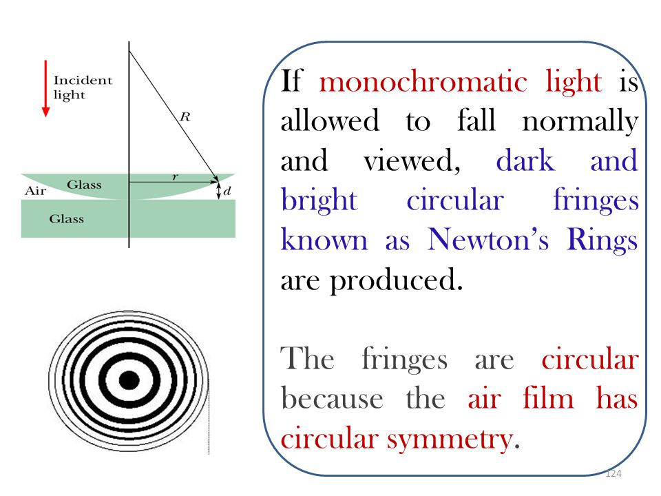 If monochromatic light is allowed to fall normally and viewed, dark and bright circular fringes known as Newton's Rings are produced.