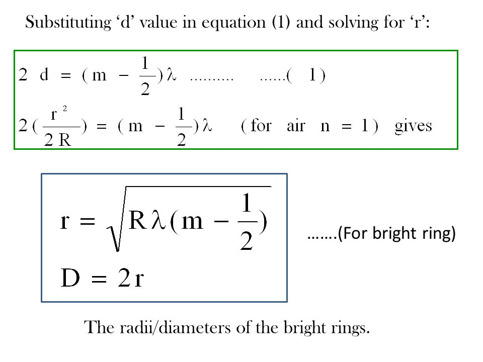 Substituting 'd' value in equation (1) and solving for 'r':