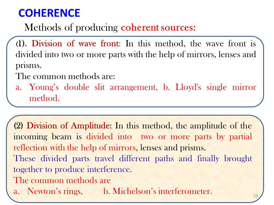 COHERENCE Methods of producing coherent sources: