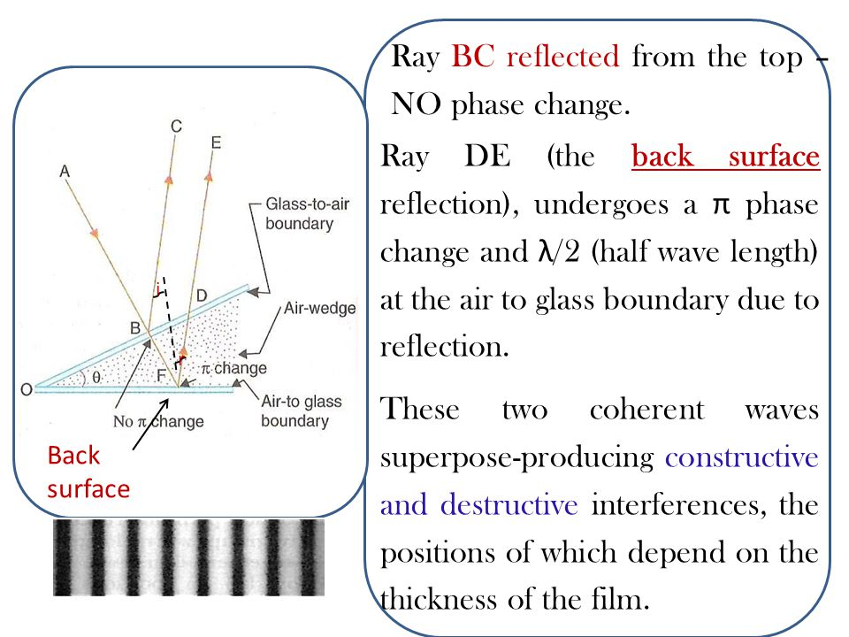 Ray BC reflected from the top –NO phase change.