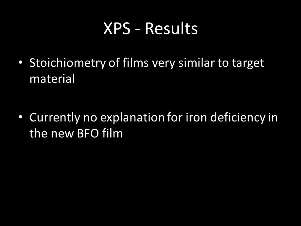 XPS - Results Stoichiometry of films very similar to target material