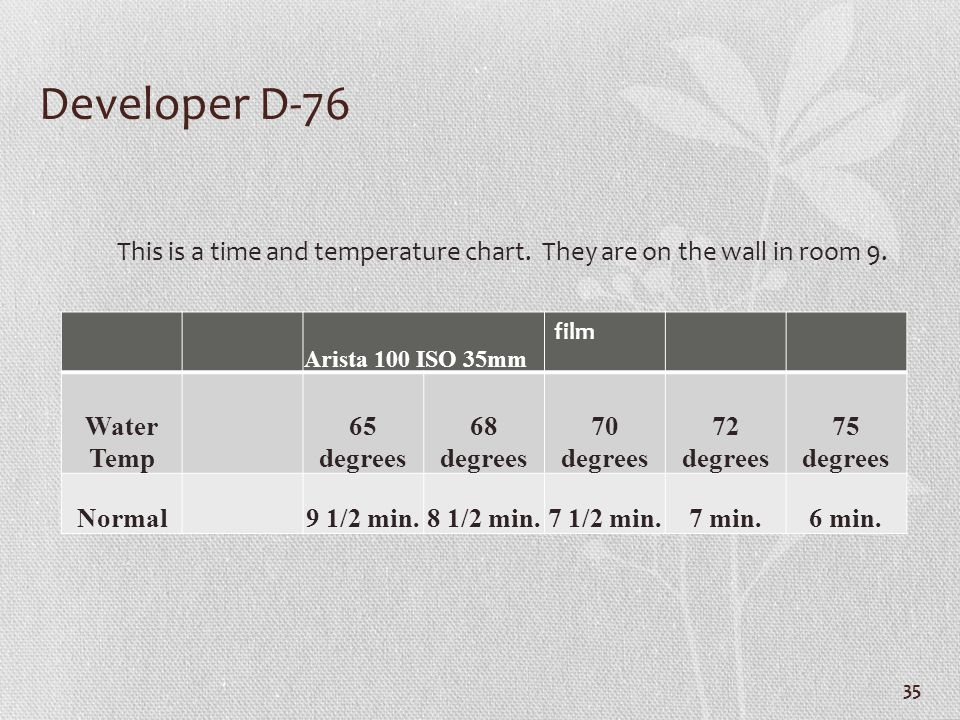 Developer D-76 This is a time and temperature chart. They are on the wall in room 9. Arista 100 ISO 35mm.
