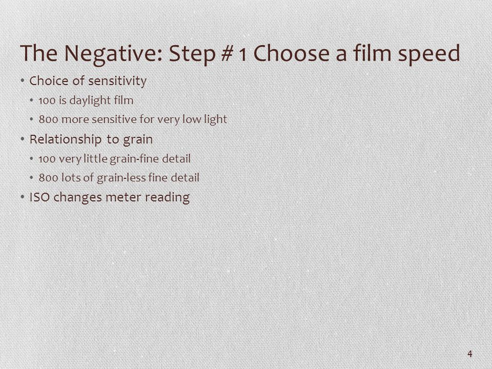 The Negative: Step # 1 Choose a film speed