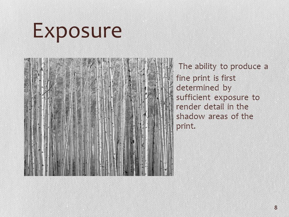 Exposure The ability to produce a fine print is first determined by sufficient exposure to render detail in the shadow areas of the print.