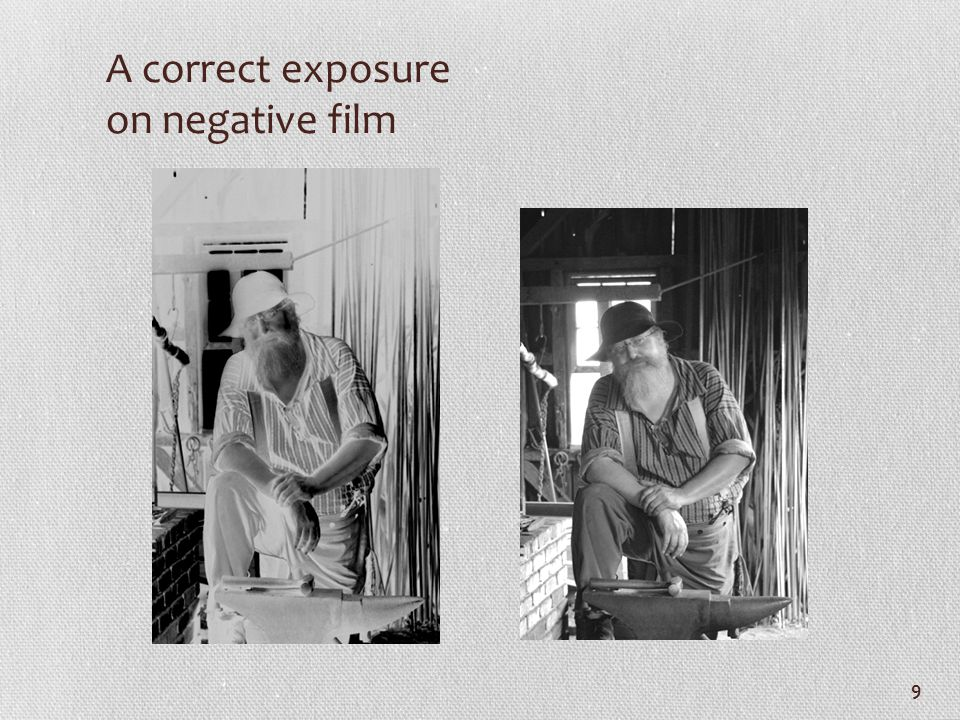A correct exposure on negative film