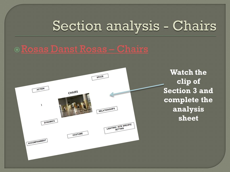 Section analysis - Chairs