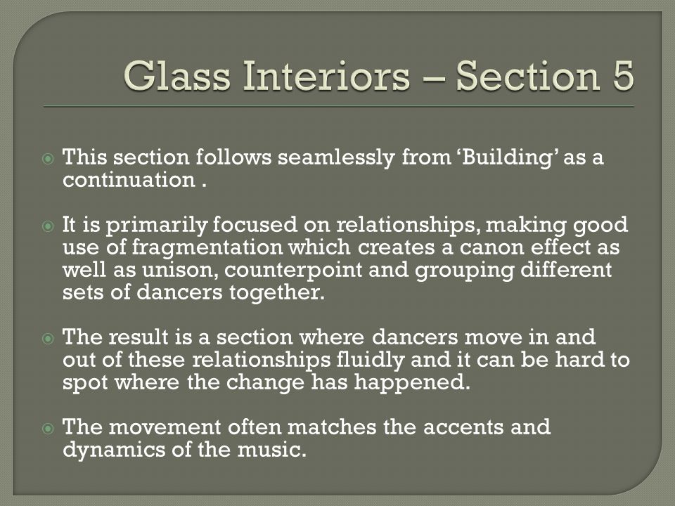 Glass Interiors – Section 5