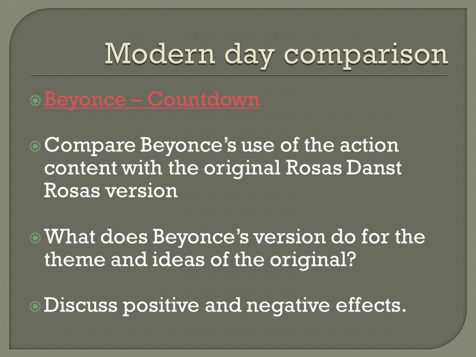 Modern day comparison Beyonce – Countdown