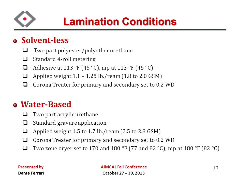 Lamination Conditions