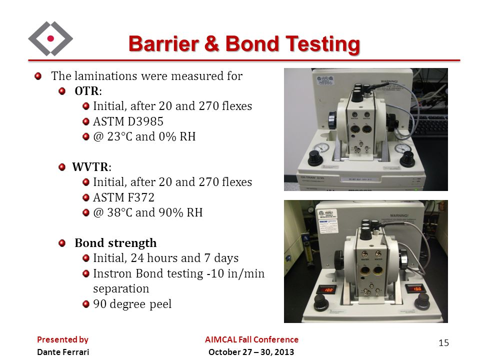 Barrier & Bond Testing The laminations were measured for OTR: