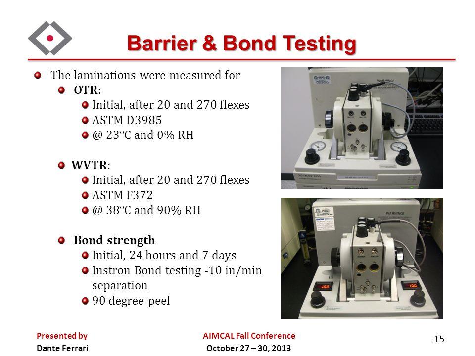 Barrier & Bond Testing The laminations were measured for OTR: