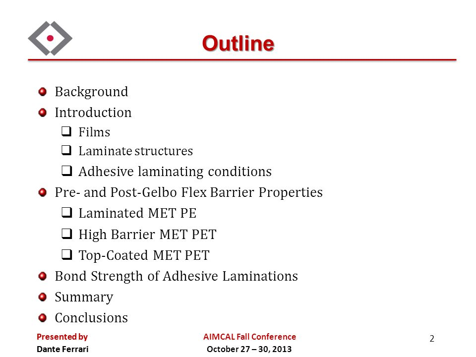 Outline Background Introduction Adhesive laminating conditions