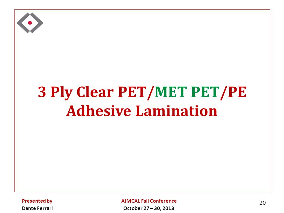 3 Ply Clear PET/MET PET/PE Adhesive Lamination