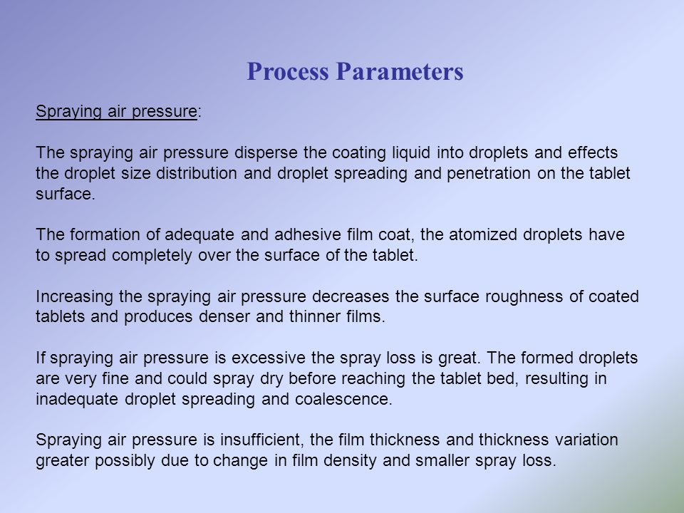 Process Parameters Spraying air pressure: