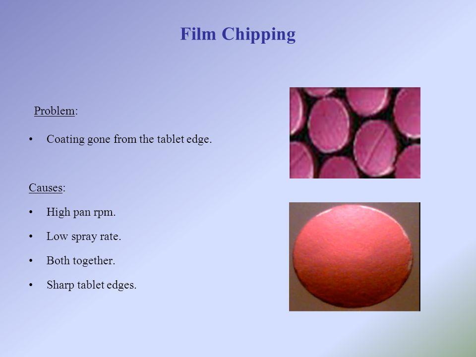 Problem: Film Chipping Coating gone from the tablet edge. Causes: