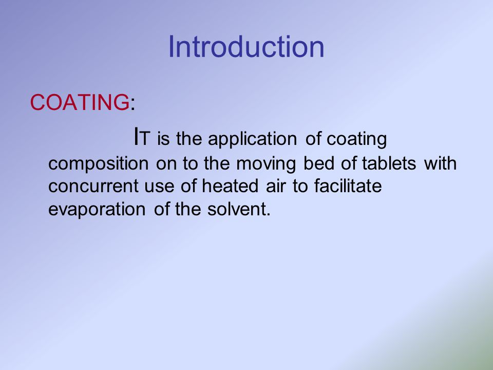 Introduction COATING: