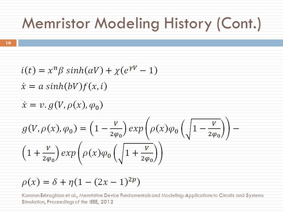 Memristor Modeling History (Cont.)