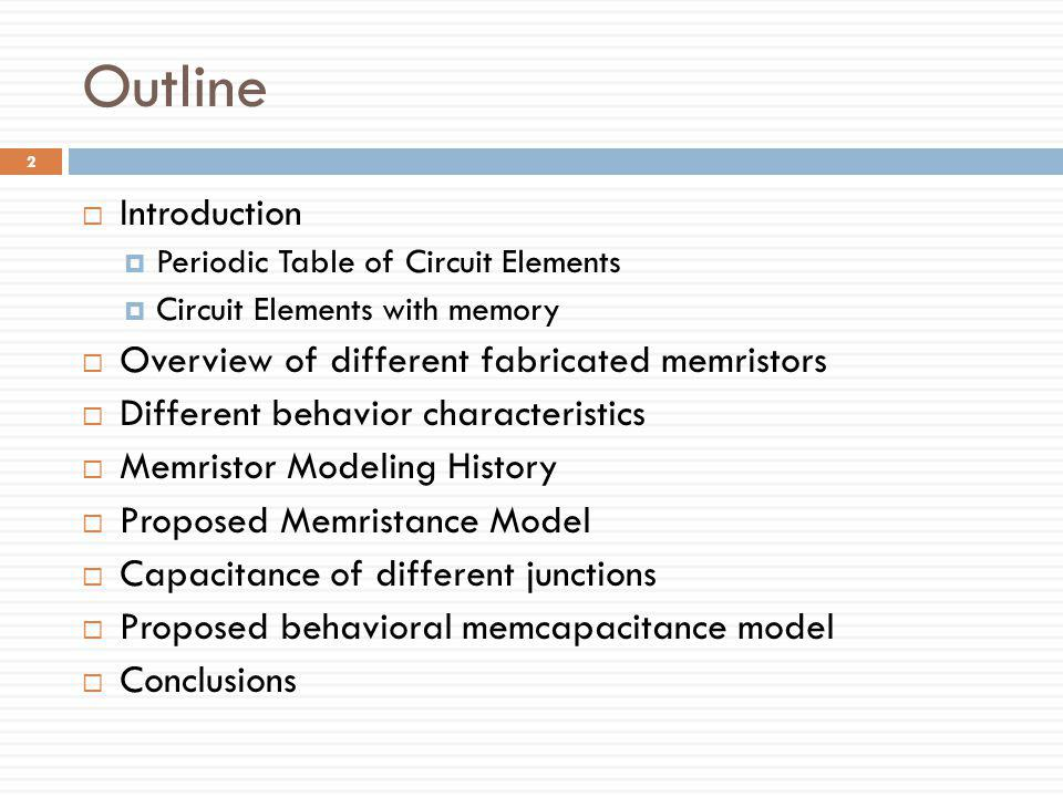 Outline Introduction Overview of different fabricated memristors