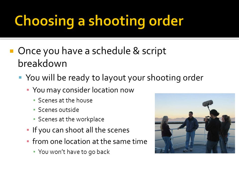 Choosing a shooting order