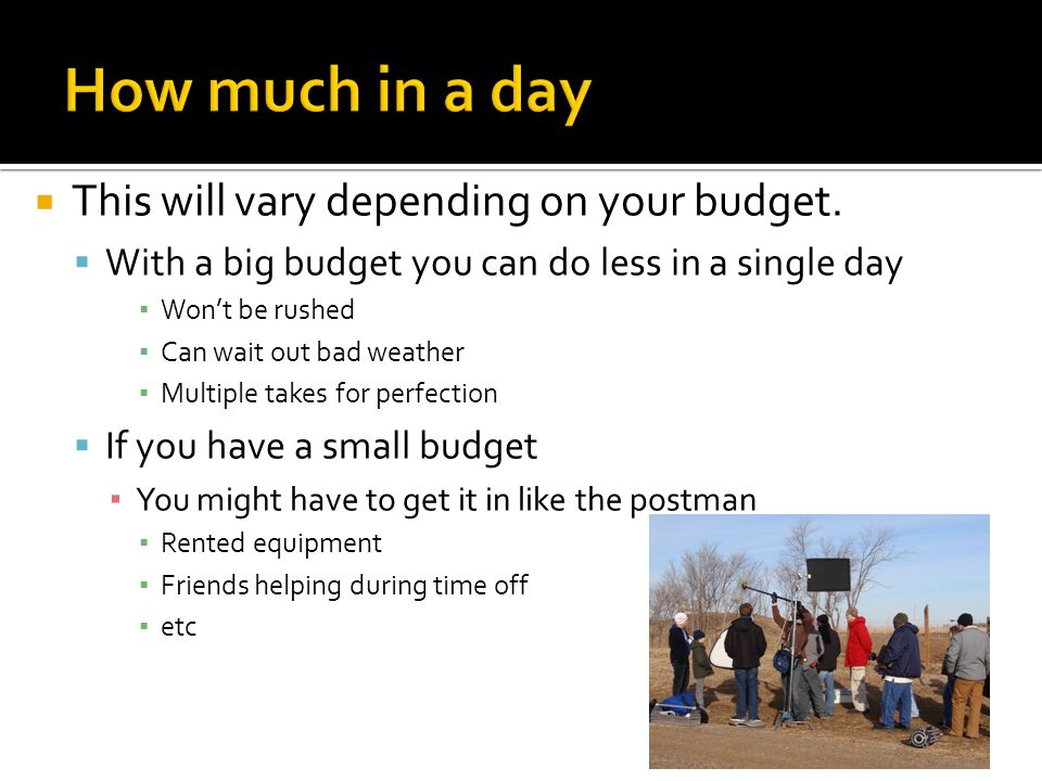 How much in a day This will vary depending on your budget.