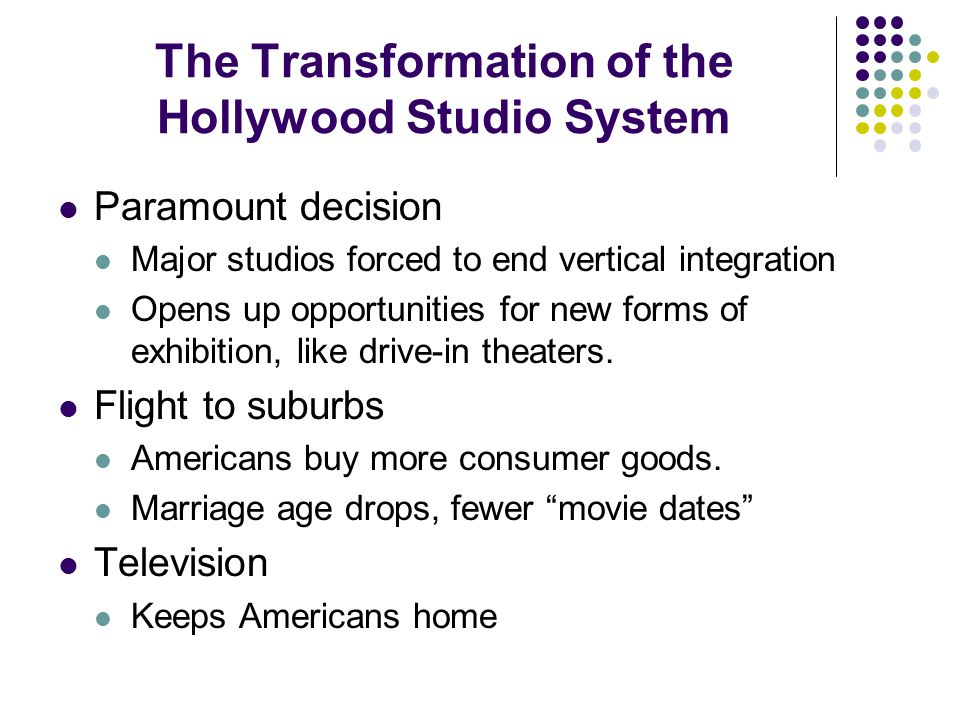 The Transformation of the Hollywood Studio System