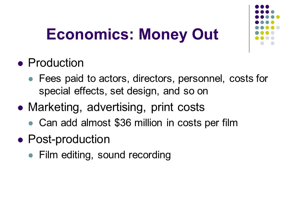 Economics: Money Out Production Marketing, advertising, print costs