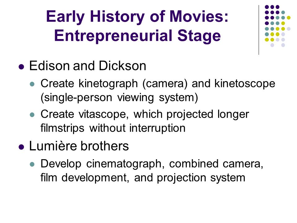 Early History of Movies: Entrepreneurial Stage