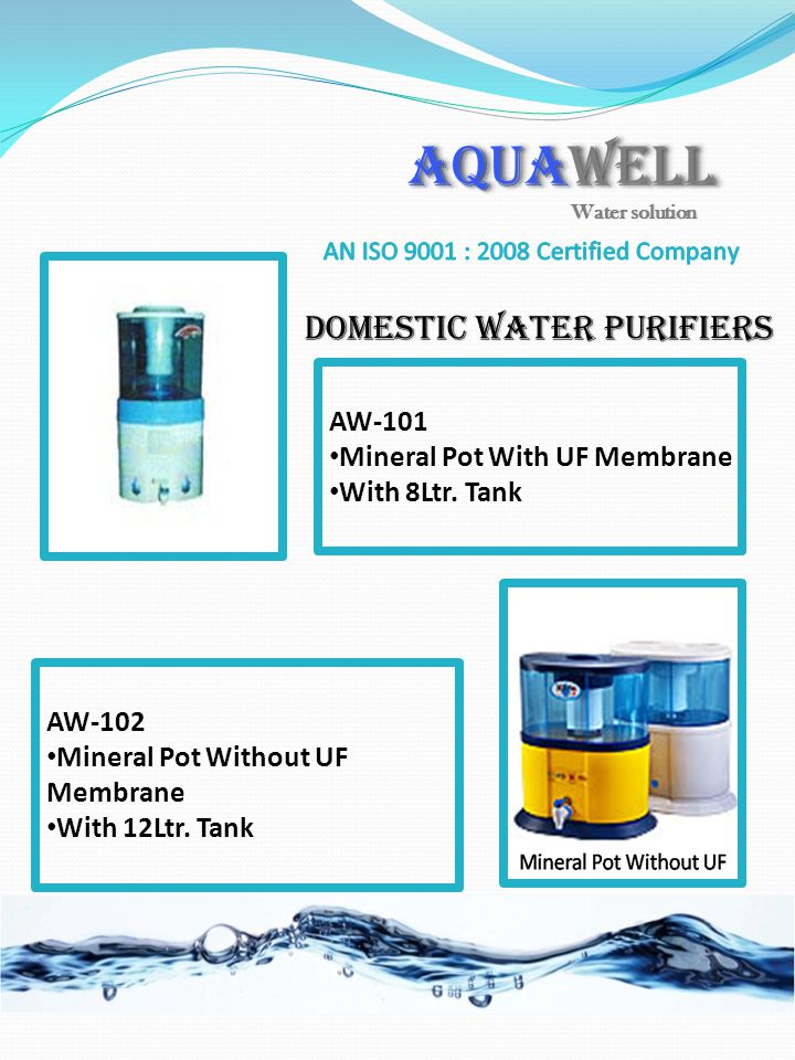 AQUAWELL Domestic Water Purifiers AW-101 Mineral Pot With UF Membrane