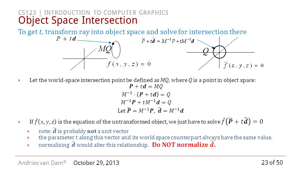 Object Space Intersection