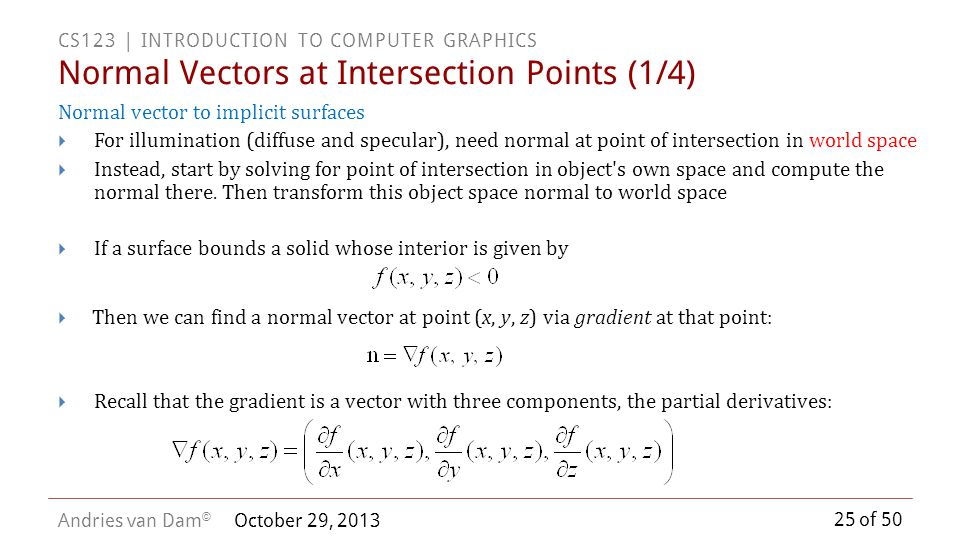 Normal Vectors at Intersection Points (1/4)