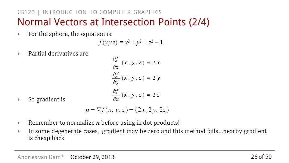 Normal Vectors at Intersection Points (2/4)