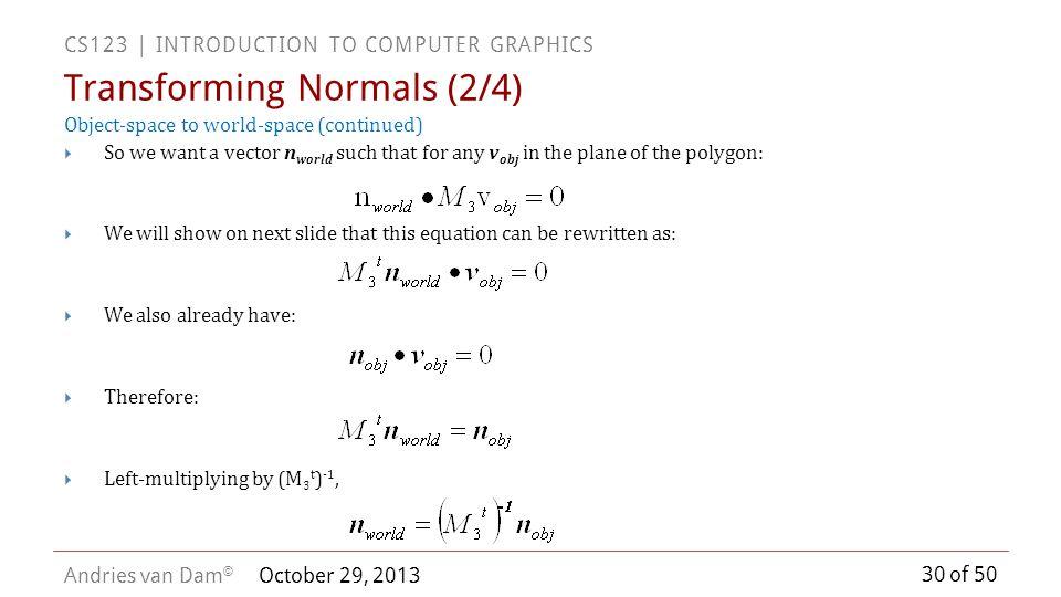 Transforming Normals (2/4)