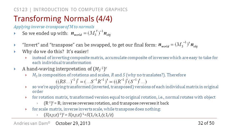Transforming Normals (4/4)